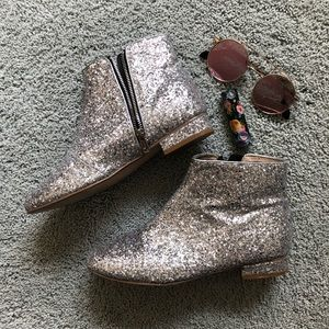 ASOS silver glitter low heel ankle boots s8.5